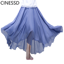 CINESSD Women Solid Swing Pleated Maxi Skirt Office lady High Waist Casual Party Loose Cotton Flowy Lightweight Long Skirts elastic waist crinkle flowy skirt