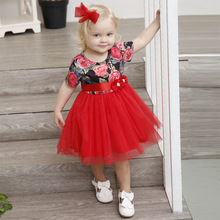 2018 New adorable toddler baby girls party dress little kids short sleeve mesh floral tutu dress 12m-6y children clothes summer