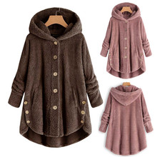 Hot Winter Plus Size S-5XL Women Button Coat Fluffy Tail Tops Hooded Pullover Loose Oversize Coats Warm Outwear For 2019 Fashion