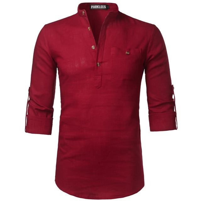 85e8908103 Camisa de lino de manga larga para hombre 2018 nueva camisa roja para hombre  Casual ajustada
