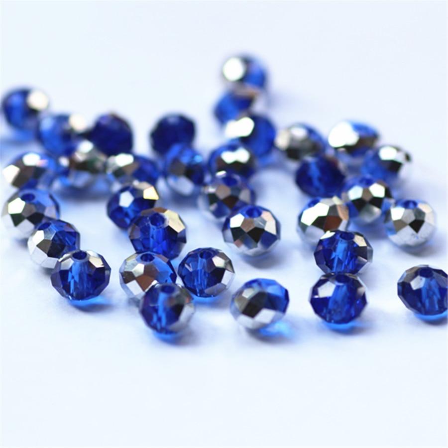 Isywaka разноцветные 4*6 мм 50 шт Австрийские граненые стеклянные бусины Rondelle, круглые бусины для изготовления ювелирных изделий - Цвет: Blue Silver