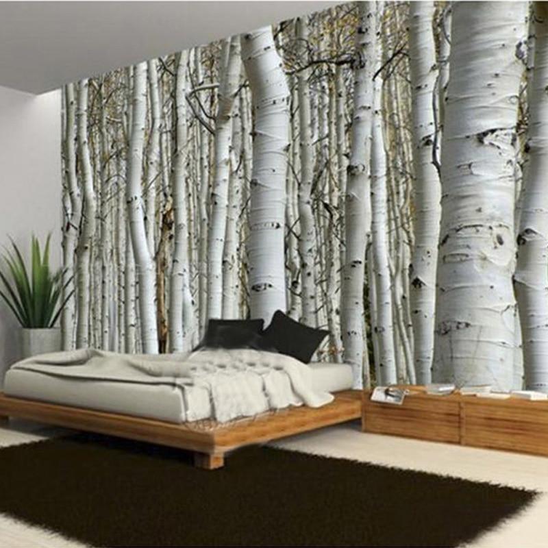 Custom Modern Natural Landscape Birch Forest Photo Wallpaper Restaurant Living Room Sofa Backdrop Mural Wall Paper For Walls 3D