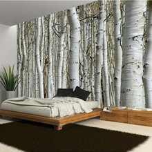 Custom Modern Natural Landscape Birch Forest Photo Wallpaper Restaurant Living Room Sofa Backdrop Mural Wall Paper For Walls 3D(China)