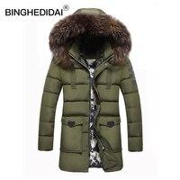 BINGHEDIDAILong Coat Winter Men Jacket Brand Casual Mens Jackets Thick Jackets Men S Parka Hooded Coat
