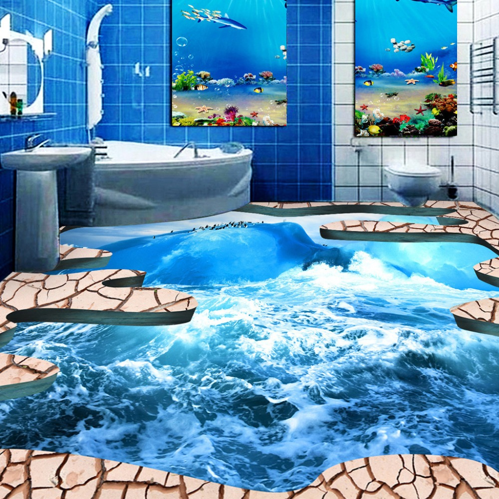 Custom Floor Wallpaper 3D Stereoscopic Ocean Crack Bathroom Floor Sticker Mural 3D PVC Self-adhesive Floor Wallpaper Murals 3D custom photo floor wallpaper 3d stereoscopic 3d floor space bridge 3d mural pvc wallpaper self adhesion floor wallpaer
