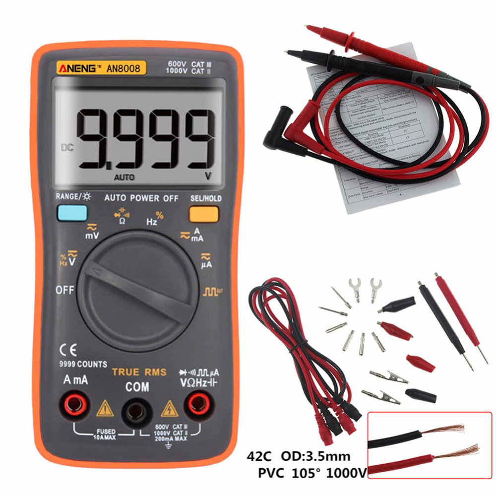 True RMS 9999 Counts Handheld Digital Multimeter Square Wave Backlight LCD Display AC/DC Ammeter Voltmeter Ohm Electrical Tester auto digital multimeter 6000counts backlight ac dc ammeter voltmeter transform ohm frequency capacitance temperature meter xj23