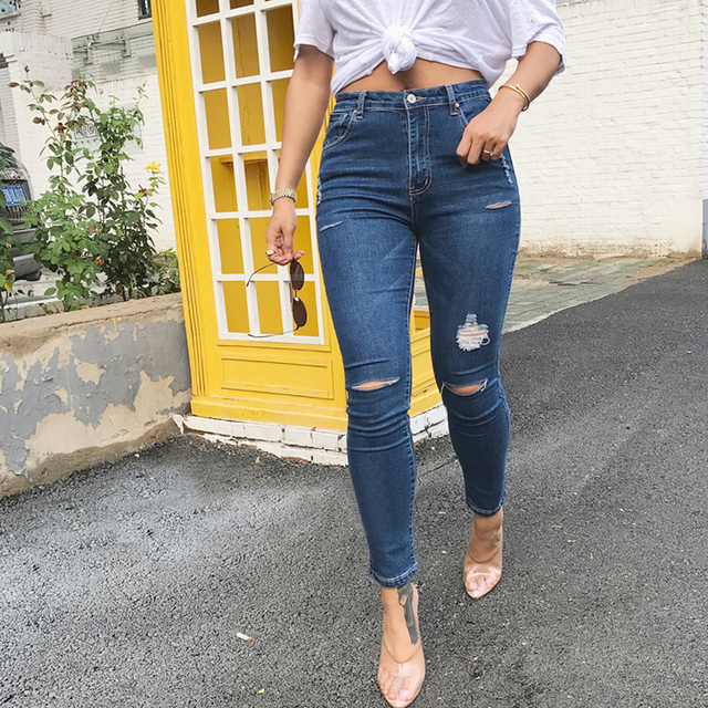 2a2c413f3 New Skinny Jeans Women Denim Pants Holes Destroyed Knee Pencil Pants Casual  Trousers Black White Stretch Ripped Jeans