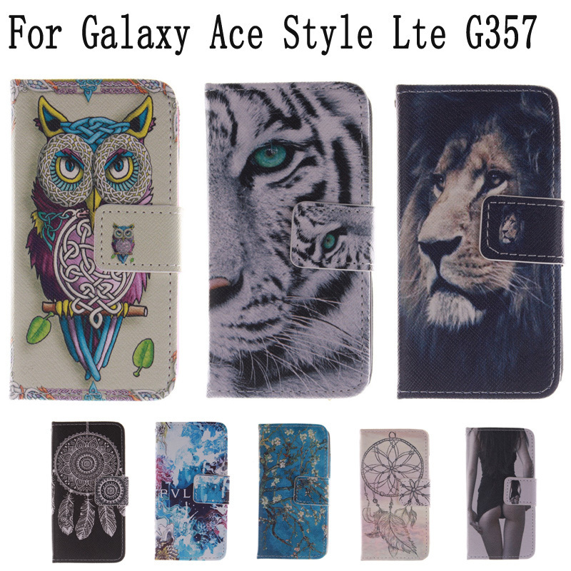 Fashion Covers owl and cat woman Sexy Girl PU leather case Protector Skin For Galaxy Ace Style Lte G357 G357FZ SM-G357FZ LH
