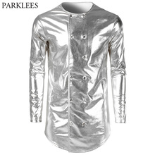 Fashion Double Breasted Shirt Men 2018 Shiny Sliver Coated Metallic Hip Hop T Shirt Men Nightclub Stage Prom Tops Tees Camisas