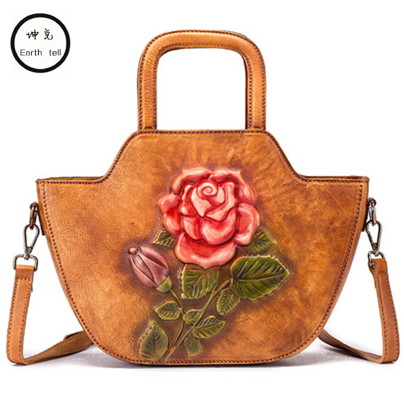 Women Retro Shoulder Embossed Messenger Cross Body Handbag Tote National Style Top Handle Bags Female Brush Genuine Leather Bag china s yunnan national style pu leather women s handbag geometric pattern casual cross style square shoulder bag