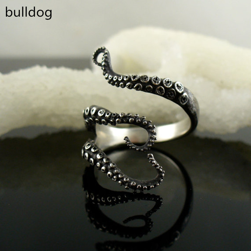 Deep sea octopus ancient silver plating ring fashion jewelry to open the adjustable size octopus ring gold