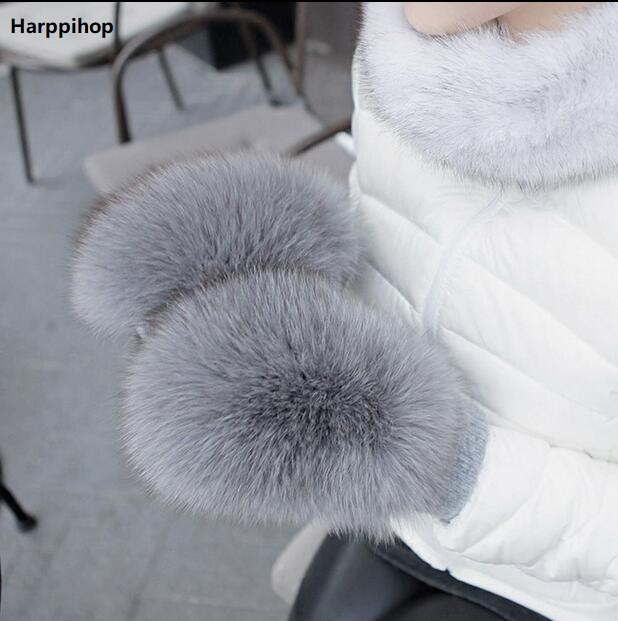 2019 New Women Fashion Brand New Genuine Woollen Fox Fur Covered Winter Gloves Mittens Real Fox Fur Luva Free Shipping Fur Glove
