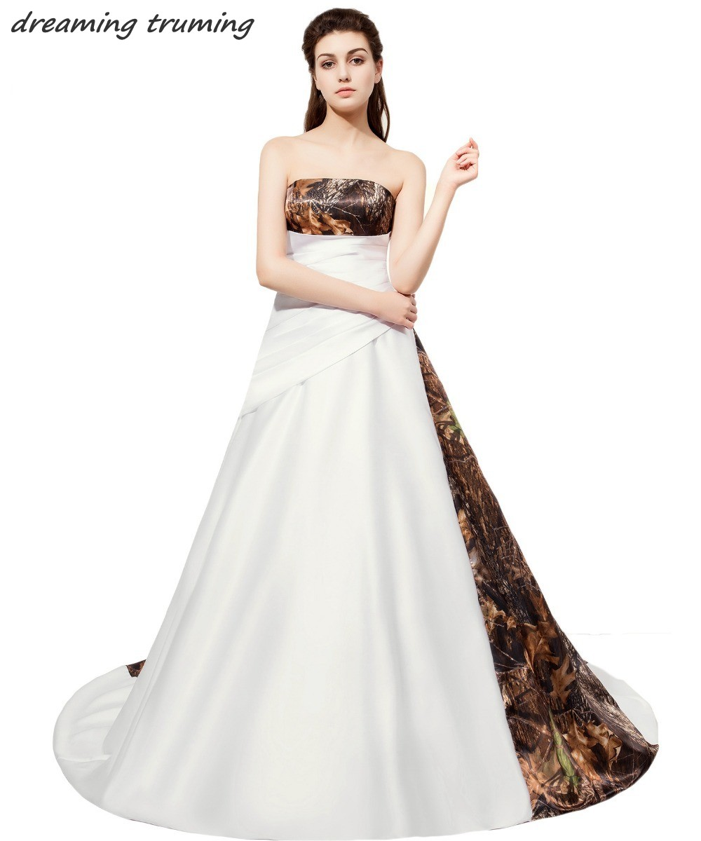 Bridesmaid Dresses Weddings & Events 2019 New Camo Weddings Camouflage Bridesmaid Dresses Custom Made Short White Girl Dresses Strapless Wedding Party Gowns Last Style