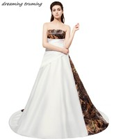 Romantic White Camouflage Wedding Dresses 2018 New Arrival Ball Gowns Strapless Sleeveless Vintage Camo Bridal Dress
