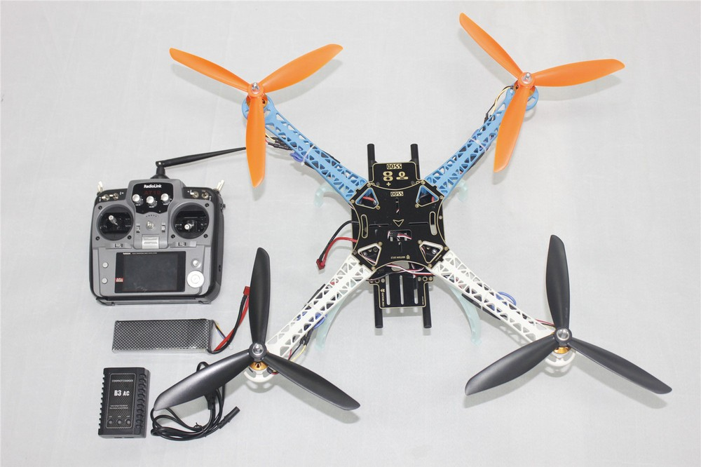 JMT DIY Drone Upgraded Full Kit S500-PCB 1045 3-Propeller 4axle Multi QuadCopter RTF/ARF with 10ch TX / RX 3300Mah Lipo