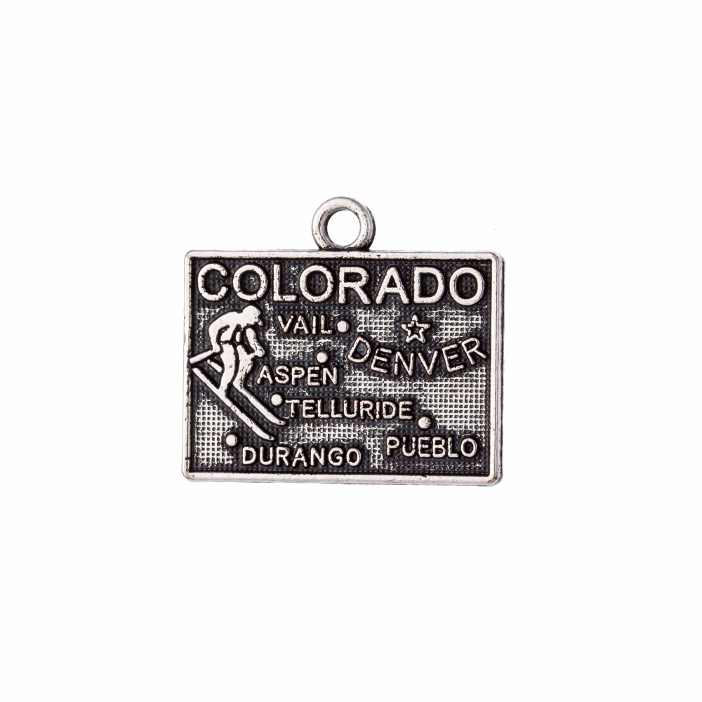 my shape 40Pcs Colorado America State Map Charm Antique Pendant Diy Handmade Jewelry Making 19*17mm