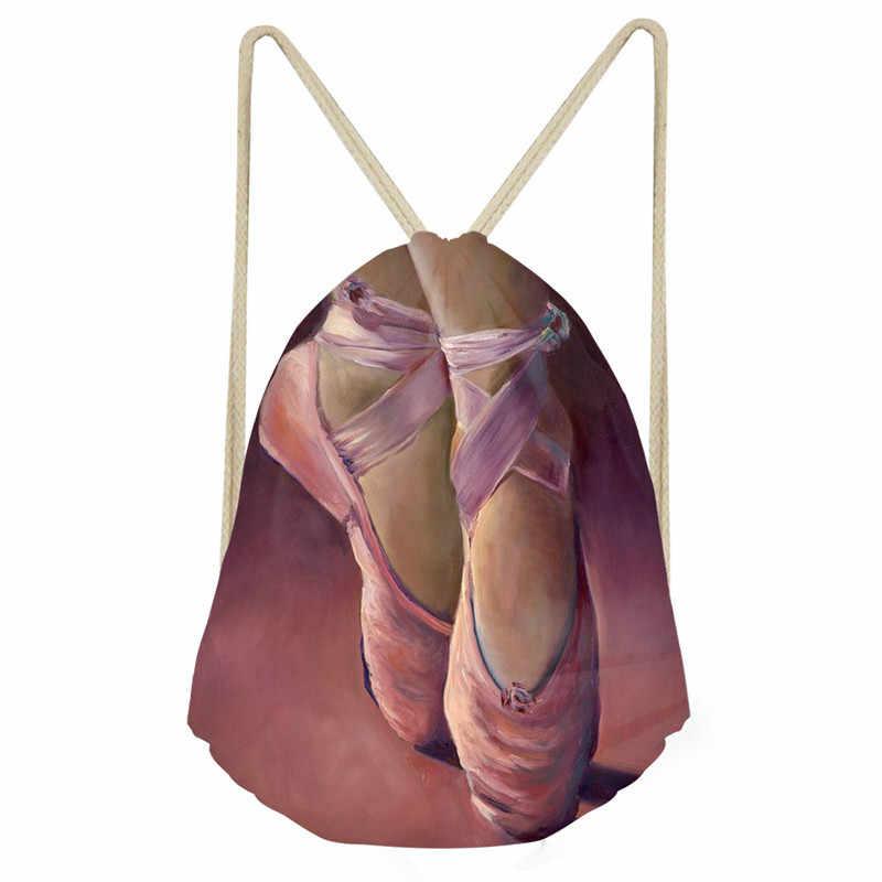 THIKIN 女性バックパックピンクバレエシューズバレエダンサー巾着袋小女の子のためのリュックサック 2018