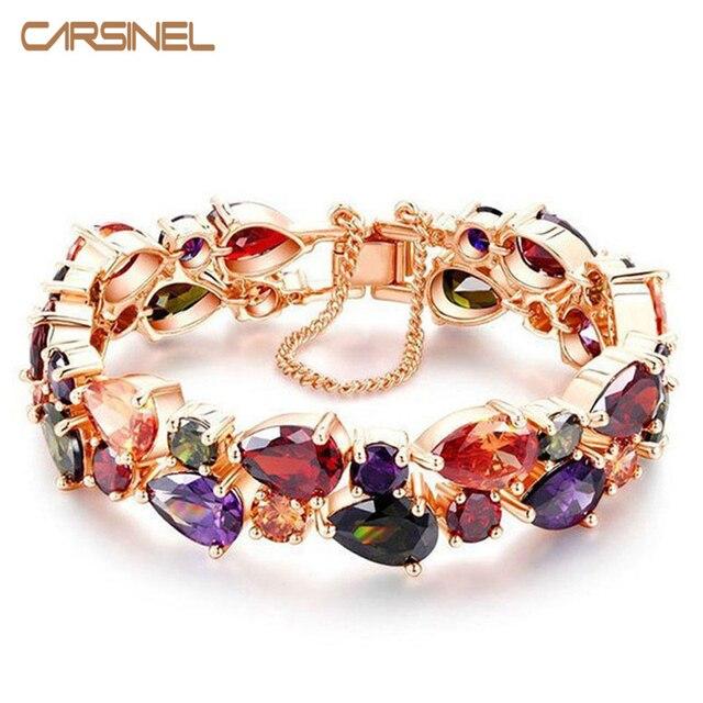 Fashion Luxury Children Anti Allergic Copper Bracelet Length 15cm Blue Clear Stone Cubic Zircon For