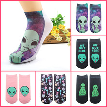 3 pairs 3D Printed Funny alien socks women Alien Martian Series cranium Sock short Spring autumn Girls Gift