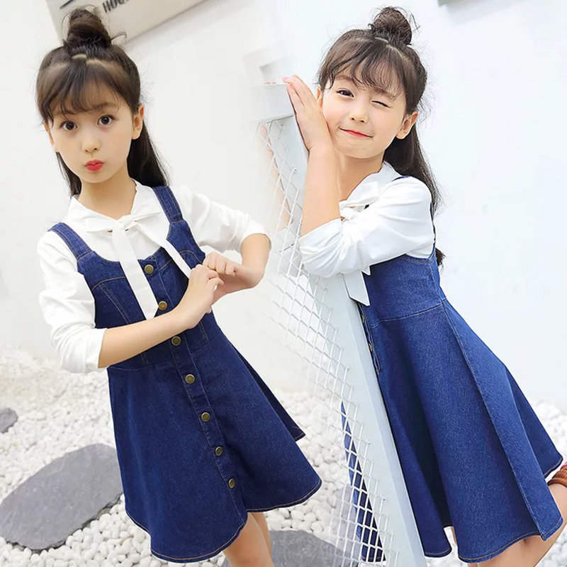 Fashion Autumn Girls Clothing Set Denim Dress + Long Sleeve White T-shirt Teenage School Girl Jeans Strap Dresses Pure Color Top girl