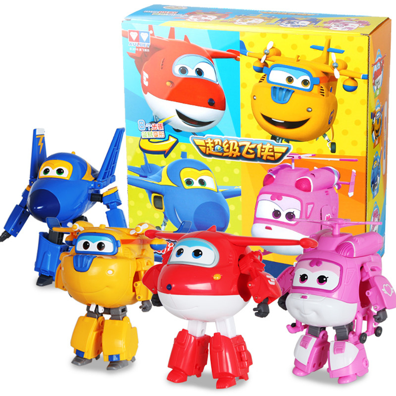 4pcs/set Big size 15cm ABS Super Wings Deformation Airplane Robot Action Figures Super Wing Transformation car toys
