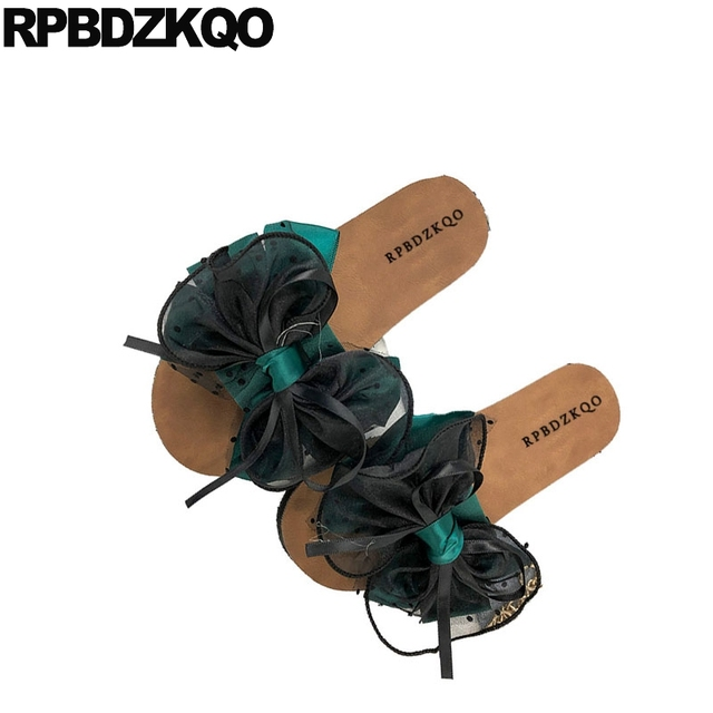 8fa40f64d64 US $36.77 36% OFF|summer korean sandals footwear bow knot ladies fashion  cute black slides chinese designer flat green shoes 2018 women slippers-in  ...