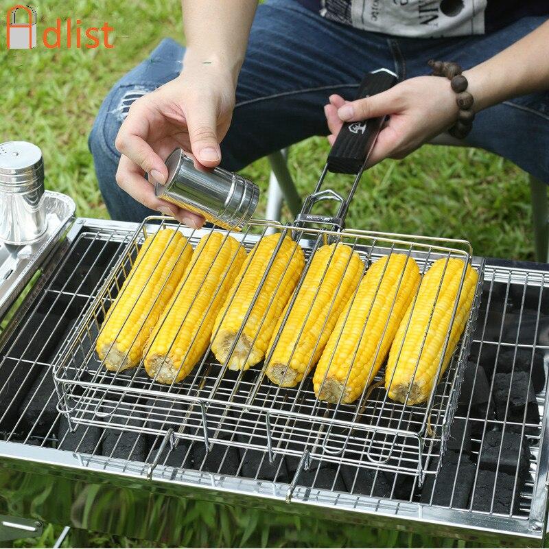 Barbecue Grilling Basket Wood handle Adjustable Folding Fish Basket Steak Fish Corn Vegetable BBQ Grill Net Rack BBQ Accessories