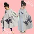 Votton verão Nightgowns Menina Primavera E No Outono Longo-sleeved Longo Nightdress Nightgowns infantil Bonito Borboleta Família Equipado
