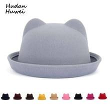 82f6bfafdb9a99 Fashion Parent-child bowler hat wool felt Fedora hats for Women Girls  Children solid Cat Ear formal cap trilby Sombrero Derby