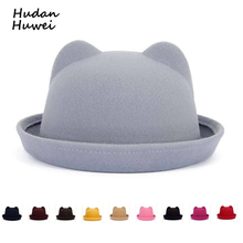 Fashion Parent-child bowler hat wool felt Fedora hats for Women Girls Children solid Cat Ear formal cap trilby Sombrero Derby