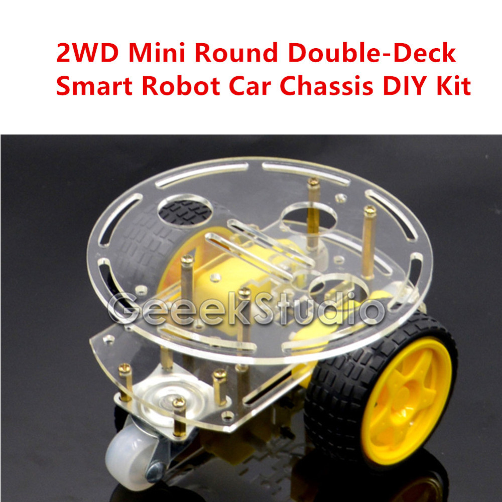 2WD Mini Round Double-Deck Smart Robot Car Chassis DIY Kit For Arduino