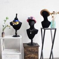 Модный стиль шляпа шарф дисплей черная голова из ткани манекен голова модель для продажи