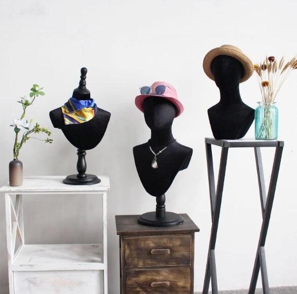 Modèle de tête de Mannequin de tête de tissu noir d'affichage d'écharpe de chapeau de Style de mode à vendre