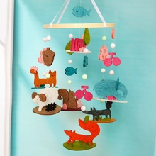 DIY Cute Forest animal park Aeolian Bells Baby Bed Ornaments Felt Animal Kit Wall Hanging Decor Felt Toy Aeolian Bell Craft Kit plus size scoop neck aeolian bells tank top