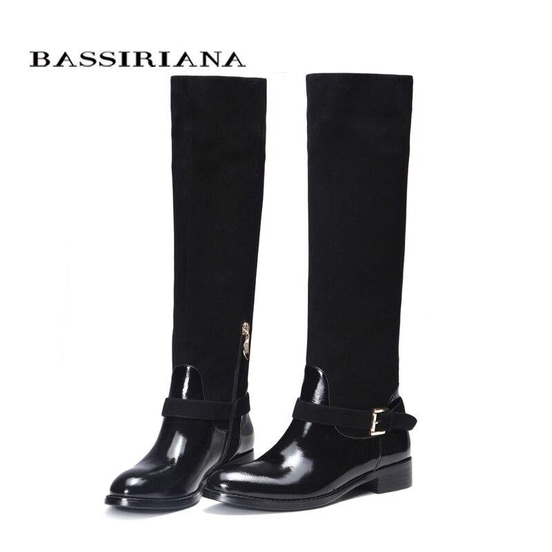 หนังรองเท้าฤดูใบไม้ร่วงฤดูใบไม้ผลิ2017รองเท้าผู้หญิง35 40สีดำหนังรองเท้าผู้หญิงจัดส่งฟรีBASSIRIANA-ใน รองเท้าบู๊ทสูงระดับเข่า จาก รองเท้า บน   3