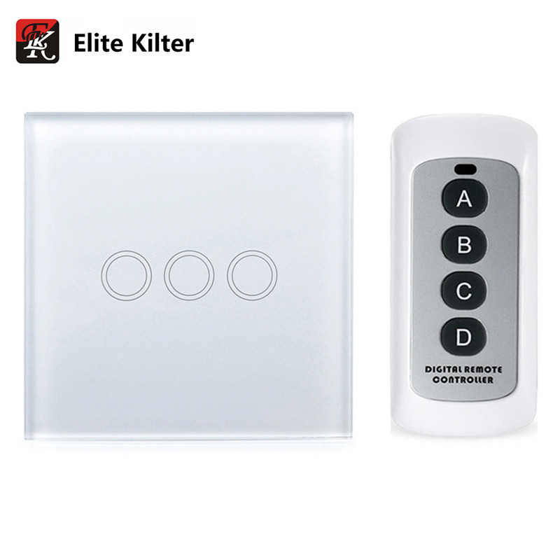 Elite Kilter Remote Control Touch Switch 3 Gang 1 Way EU/UK Standard Crystal Glass Panel Smart Touch Wall Light Switch funry uk standard 1 gang 1 way smart wall switch crystal glass panel touch switch ac 110 250v 1000w for light