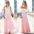 Sexy Mujeres Multiway Maxi Dress Pink Beach Vestido Largo Damas de Honor Del Cordón ahueca hacia fuera los Vestidos de Fiesta Robe Longue Femme