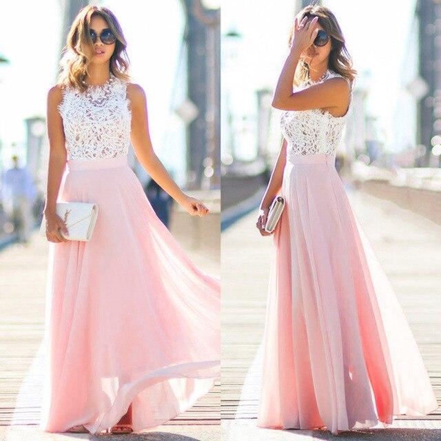 roze maxi jurk