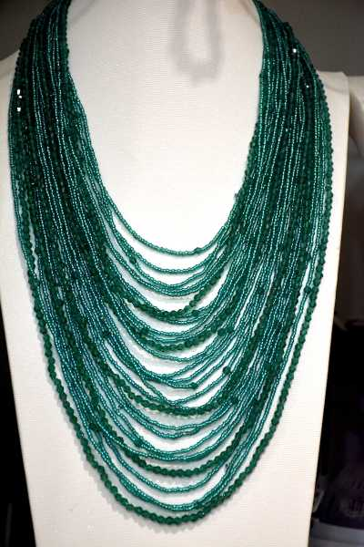 2017 new arrival fashion jewelry handmade Malachite Green bicone crystal Czech seed beaded necklace 28 layer