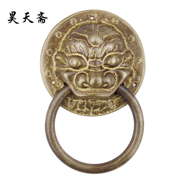 [Haotian vegetarian] special! Ming and Qing antique copper decoration accessories knocker handle HTA-009 [haotian vegetarian] door knocker chinese decoration antique copper handle antique handle hta 096 chassis