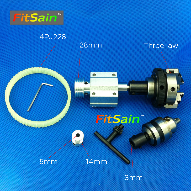 FitSain-hole 5mm pulley three jaw chuck D=50mm B12 drill chuck Pulley mini drill press mini Lathe fitsain 775 dc24v 8000rpm motor pulley three jaw chuck d 50mm b12 drill chuck pulley mini lathe