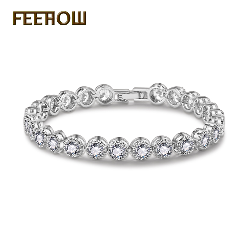 FEEHOW Top Quality Round Cubic Zirconia Bracelet Bangles Fashion Sliver / Rose Gold Color Crystal Jewelry for Women Gift FWBP096