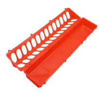 10 pcs Red Round Hole Plastic Pigeon Food Trough 50.5 * 10.5 * 7.5CM Large Pigeon Or Bird Feed Trough Poultry Feeding Equipment