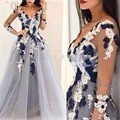 Gray Long Evening Dresses with Sleeves Robe de soiree V Neck Two tone Lace Appliques Prom Gown Cheap Formal Party Gown MM64