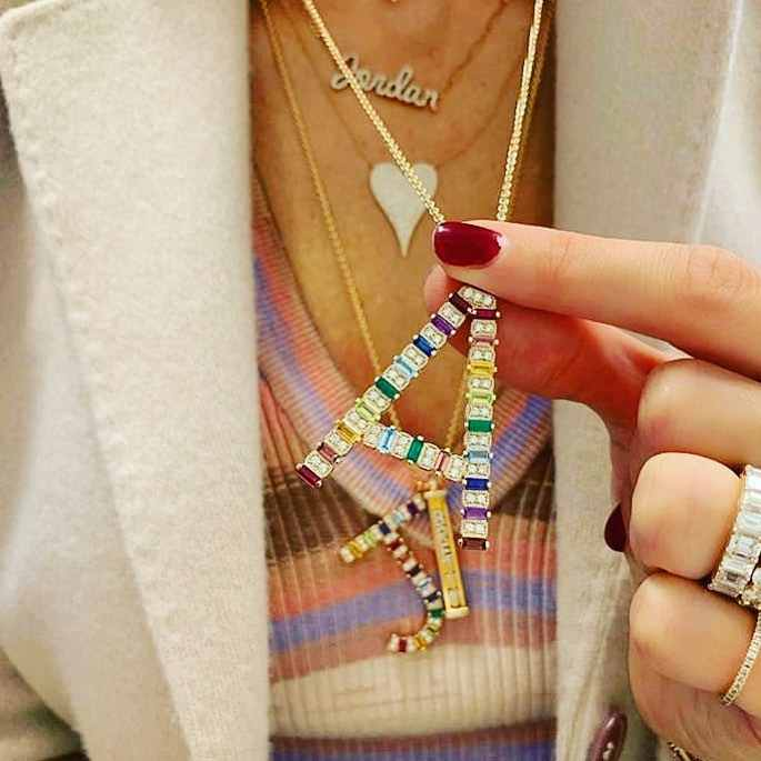 2019 new arrived personalized name letter necklace rainbow cz Initials big Alphabet Long women gorgeous jewelry