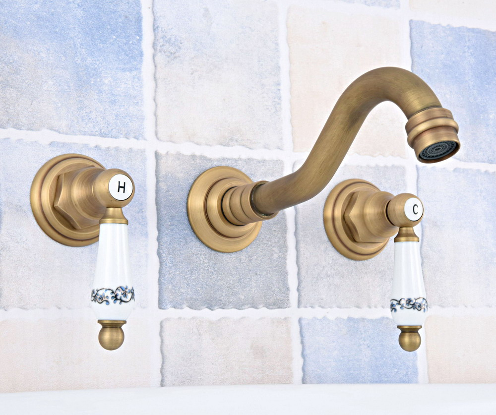 Antique Brass Widespread Wall-Mounted Tub 3 Holes Dual Ceramic Handles Kitchen Bathroom Tub Sink Basin Faucet Mixer Tap asf530Antique Brass Widespread Wall-Mounted Tub 3 Holes Dual Ceramic Handles Kitchen Bathroom Tub Sink Basin Faucet Mixer Tap asf530