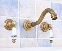 Antique Brass Widespread Wall Mounted Tub 3 Holes Dual Ceramic Handles Kitchen Bathroom Tub Sink Basin Faucet Mixer Tap asf530