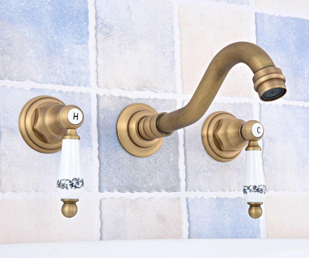 Laiton Antique répandu mural baignoire 3 trous double poignées en céramique cuisine salle de bains baignoire évier bassin robinet mitigeur asf530