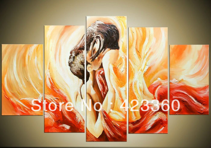 Brand New 100% Handpainted fashion wall art Nude Sex Lovers ...