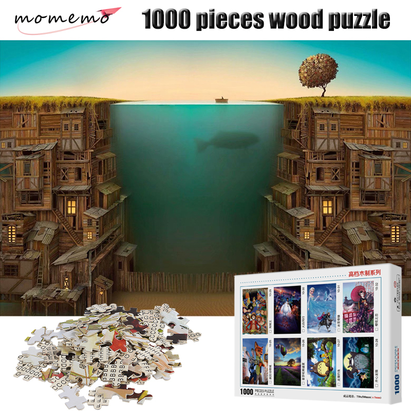 MOMEMO Fishing 1000 Pieces Puzzle Wooden 2mm Thick Jigsaw Puzzles Educational Toys Children Adult Assembling Puzzles Toys Gifts